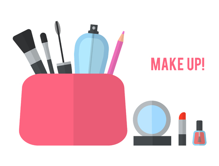 beauty icon: Make up concept flat illustration with lipstick, comb, brush, palette, perfume, nail Polish in womens purse. Beauty design isolated on white background. Make-up artist objects. Cosmetic bag.