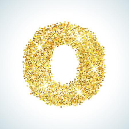 numerical: Zero number in golden style. illustration gold design. Formed by yellow shapes. For party poster, greeting card, banner or invitation. Cute numerical icon and sign. Stock Photo