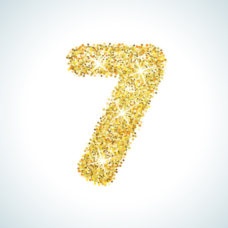 numerical: Seven number in golden style. illustration gold design. Formed by yellow shapes. For party poster, greeting card, banner or invitation. Cute numerical icon and sign.