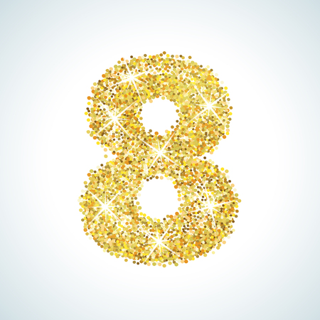 numerical: Eight number in golden style. illustration gold design. Formed by yellow shapes. For party poster, greeting card, banner or invitation. Cute numerical icon and sign. Stock Photo