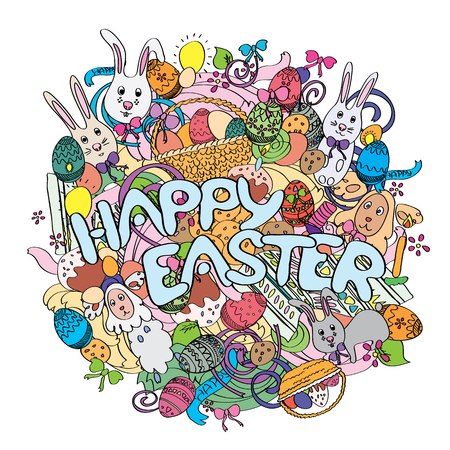 illustration isolated: Happy Easter colorful illustration isolated on white background with cute cartoon elements. For greeting cards, ads, posters, t-shirts design. Funny rabbits, cakes, spring flowers and baskets.