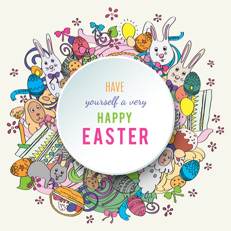 middle easter: Happy easter colorful greeting card in . Text is written on the circle in the middle of illustration. Funny rabbits, cakes, spring flower and basket. Stylish holiday background in cartoon style Stock Photo