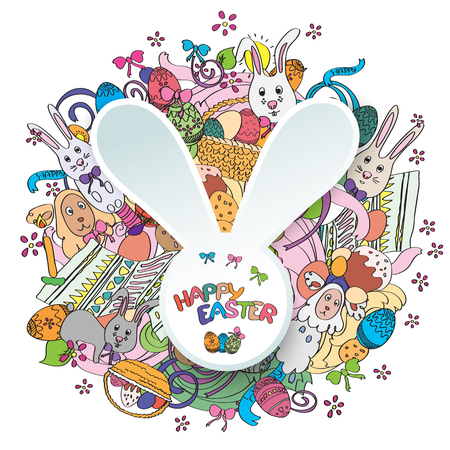 middle easter: Happy easter colorful greeting card in . Text is written on the rabbit in the middle of illustration. Funny rabbits, cakes, spring flower and basket. Stylish holiday background in cartoon style