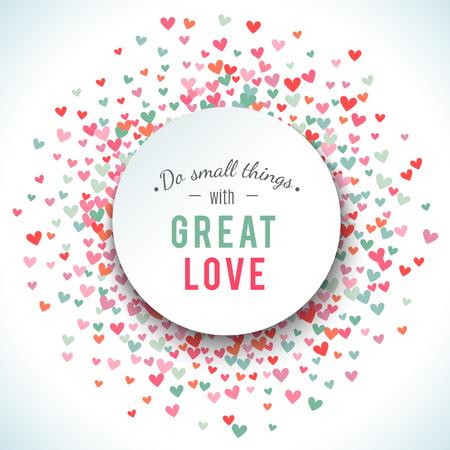 Romantische roze en blauw hart achtergrond. illustratie voor vakantie design. Vele vliegende harten op een witte achtergrond. Voor bruiloft kaart, valentijnsdag groeten, mooi kader. Stockfoto