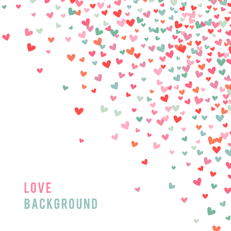 Romantic pink and blue heart background. illustration for holiday design. Many flying hearts corner on white background. For wedding card, valentine day greetings, lovely frame. Banco de Imagens