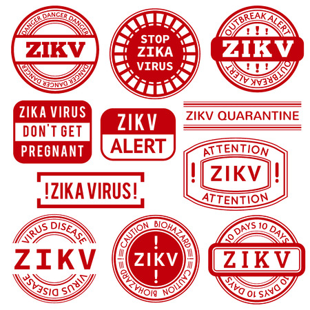 quarantine: Red and white Zika Virus stamps. illustration for warning message. Information sign with ZIKV. Do not Get Pregnant.