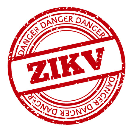 outbreak: Red and white Zika Virus stamp. illustration for warning message. Information sign with ZIKV. Do not Get Pregnant.