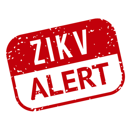 rash: Red and white Zika Virus stamp. illustration for warning message. Information sign with ZIKV. Do not Get Pregnant.