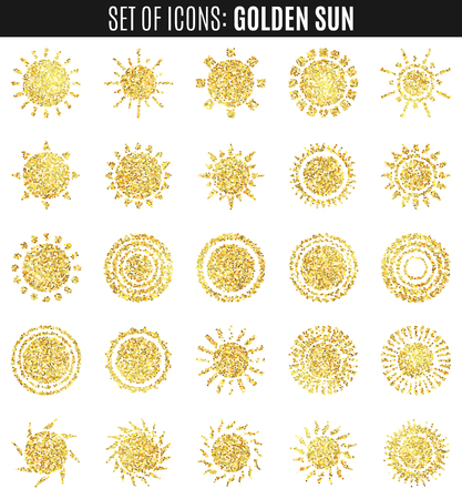 graphic art: set of sun icons isolated on white background. Creative yellow sunlight symbols. Elements for weather forecast design. Editable items. Premium design graphic. . Art deco chic elements.