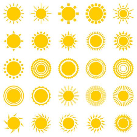 sunburst: set of sun icons isolated on white background. Creative yellow sunlight symbols. Elements for weather forecast design. Solar system. Sunrise And sunset. Editable items. Flat design graphic.