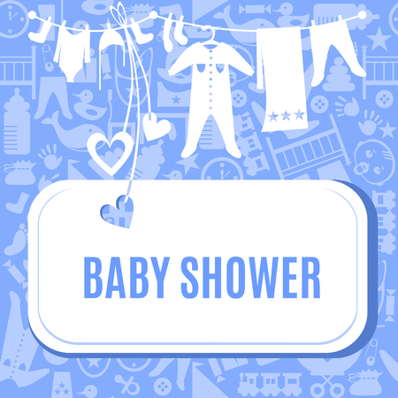 Baby shower card in blue color. Arrival postcard for boys with place for your text. Invitation on newborn toddler birthday. Vector illustration. Cute pretty tender invite poster flyer template.