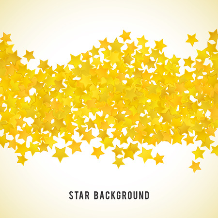 yellow star: Abstract yellow star background. Vector illustration for gold design. Golden color. Shiny decoration. Symbol celebration. Holiday award shape. Bright banner and frame. Confetti wallpaper element.