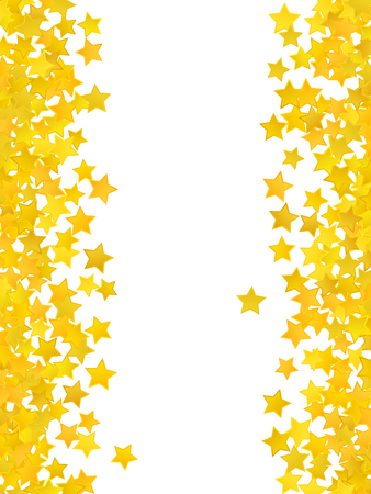 star background: Abstract yellow star background. Vector illustration for gold design. Golden color. Shiny decoration. Symbol celebration. Holiday award shape. Bright banner and frame. Confetti wallpaper element.