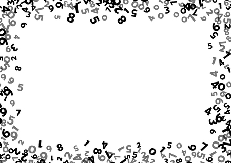 Abstrakte mathematische Zahl Hintergrund. Vektor-Illustration für Business-Design. Schwarz-weiße Farben. Zufällige Zeichen fliegen Grenze Rahmen. Schule Blatt. Die Ziffer Zahl-Konzept. Algebra Dekoration. Bericht Abdeckung Vektorgrafik