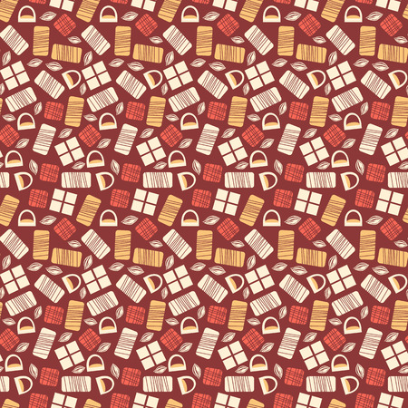 white bars: Chocolate bars seamless pattern. Different types of chocolate dark, milk and white. Creative wallpaper design. Realistic chocolate bar pieces. Tasty background. Endless texture. illustration