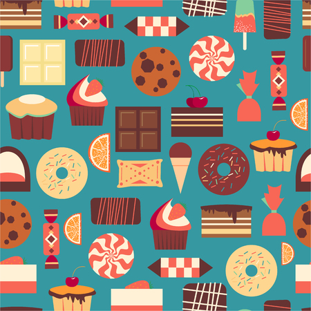 objects paper: Seamless pattern with sweet dessert objects. Abstract background with tasty gourmet items. For wallpaper and wrapping paper. Food design illustration. Retro confectionery. Pastry.