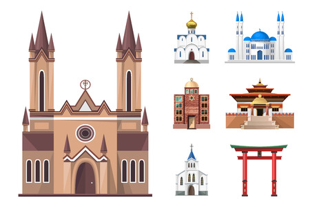 places of interest: Cathedrals, churches and mosques building set. Collection of temple buildings and architecture. Places of interest of different countries. Islam, buddhist, hindu and christian religion.