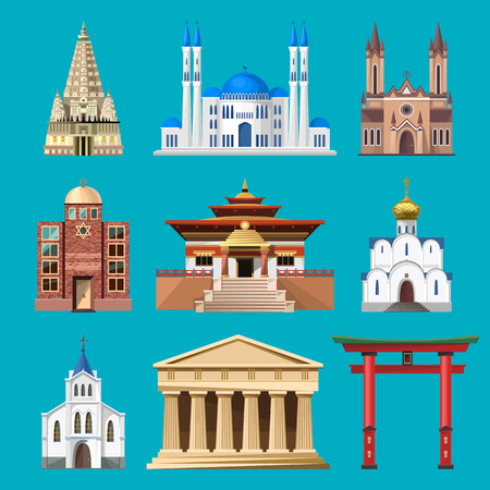 cathedrals: Cathedrals, churches and mosques building set. Collection of temple buildings and architecture. Places of interest of different countries. Islam, buddhist, hindu and christian religion.