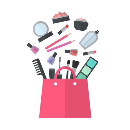 productos de belleza: Componen concepto ilustración plana con lápiz labial, peine, cepillo, paleta, perfume, esmalte de uñas en las mujeres bolso. Diseño de la belleza aislado en el fondo blanco. Maquillaje objetos artista. Bolso de Cosméticos.