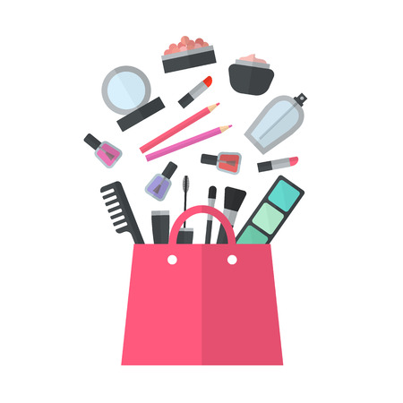 beauty make up: Make up concept flat illustration with lipstick, comb, brush, palette, perfume, nail Polish in women purse. Beauty design isolated on white background. Make-up artist objects. Cosmetic bag. Stock Photo