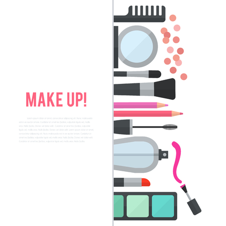 comb out: Make up concept flat illustration with cosmetics, makeup table, mirror, make-up brushes, perfume, nail polish and comb are laid out in row. Vertical concept design isolated on white background. Stock Photo