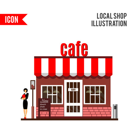 side menu: Restaurant or cafe illustration in flat style. Isometric dinner building with waitress and menu board standing nearby. Desserts, drinks, ice-cream. cafe icon isolated on white background
