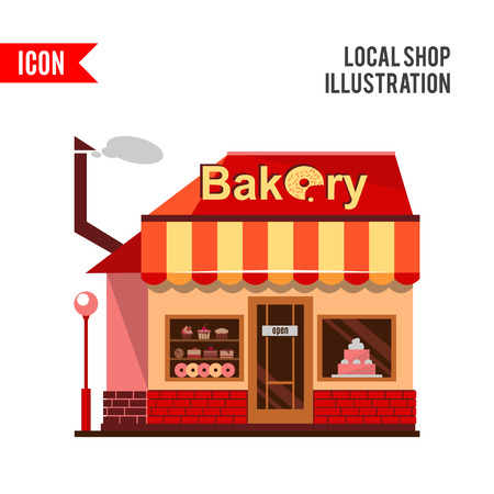 baked goods: Bakery building with cakes, donuts and pies in the shop windows. Illustration of a building selling baked goods and pastry. flat style design icon isolated on white background. Stock Photo