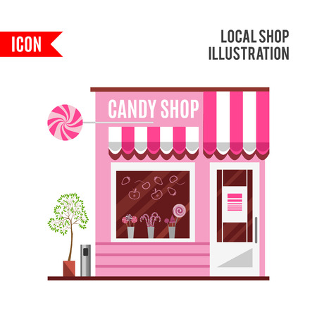 confectionery: Candy shop in a pink color. Flat design illustration of small business concept.Tasty candies in a shop window. Lollipops boutique. Stylish sweets shop. Confectionery shop. Cute desserts. Stock Photo