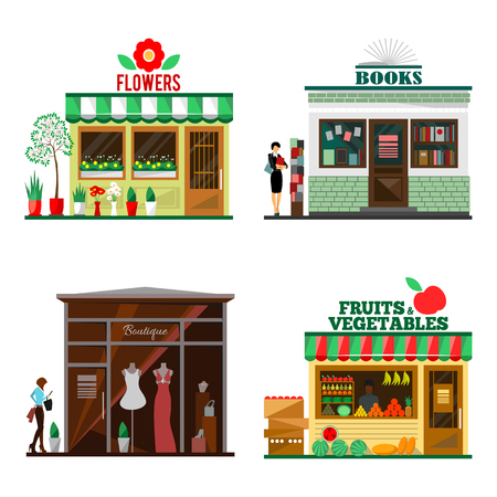 Cool set of detailed flat design city public buildings. Store facade icons. Flowers, books, fruits and vegetables, boutique shops. illustration for cute cartoon food design.