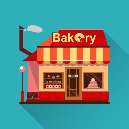 baked goods: Bakery building with cakes, donuts and pies in the shop windows. Illustration of a building selling baked goods and pastry. flat style design icon with a shadow. Dessert market. Cafe Stock Photo