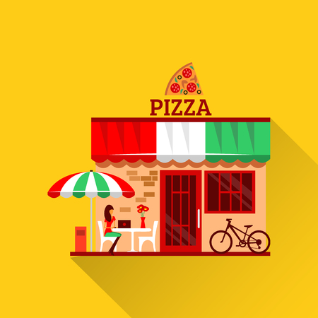 eats: of pizza restaurant with terrace in front. Woman eats pizza at the table. Bicycle parking nearby. Pizzeria restaurant building. Food and drink concept. Summer facade. Tasty pizza icon