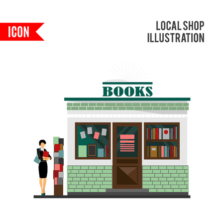 building lot: bookstore mall. Books shop building. Woman silhouette with a book. A lot of books in a shop window. Library. Education market. Cute architecture facade. flat style illustration. Boutique Stock Photo