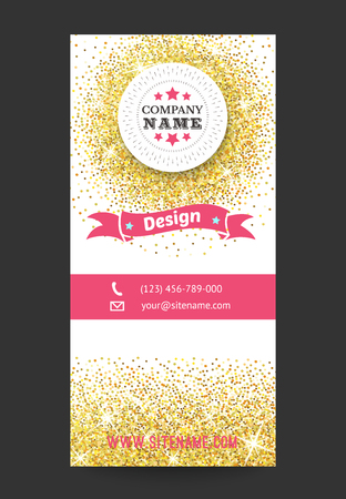 company party: Gold business card template, bright golden pattern. illustration for modern design. Beautiful ornament. Yellow, pink and white colors.