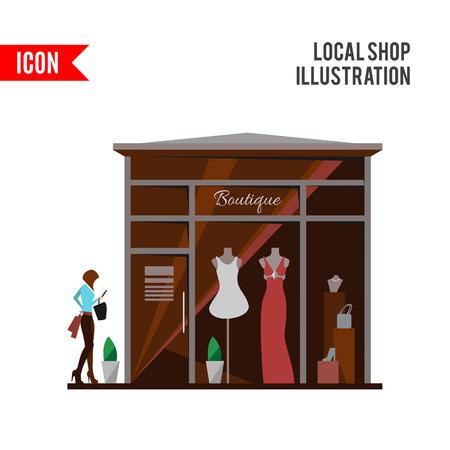 tienda de ropa: Tienda de ropa. El hombre y la ropa de la mujer tienda y boutique. Compras, moda, bolsas, accesorios. ilustración de estilo plano. boutique de estilo moderno. Silueta de la mujer en la vidriera.