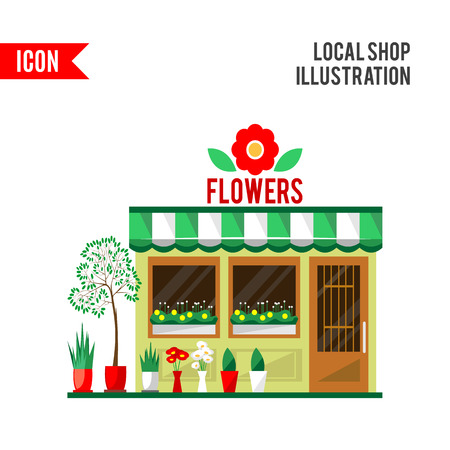 show plant: Illustration of a flowers shop. Little cute retro house and store, shop or boutique with green awning. Floral boutique. Consumer flowerpot. flat style icon. Florist shop. Cute plants Stock Photo