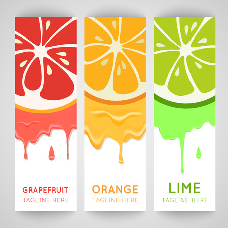 orange juice: Three bright banner with stylized citrus fruit and splashes. Grapefruit, lime and orange isolated on white background. Fresh juice advertisement. Summer fresh drink. Healthy vitamin fruits.