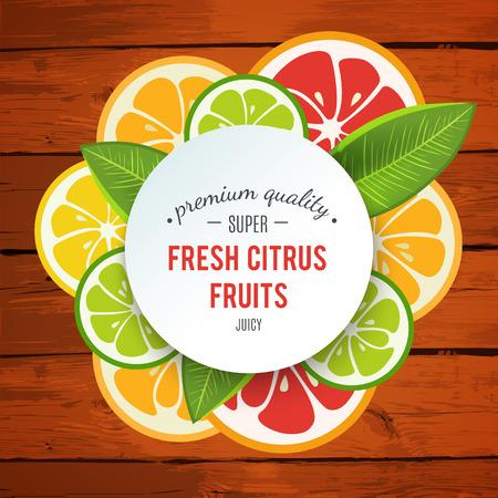 orange fruit: Banner with stylized citrus fruit and splashes. Grapefruit, lime, lemon and orange. Citrus mix isolated on wooden background can be used for cafe menu design. Bright stylish juicy icon design.