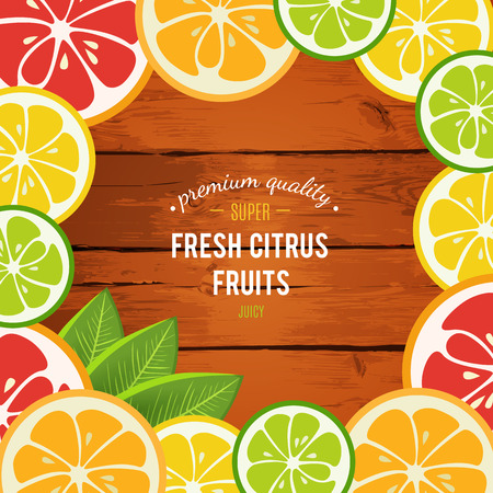 mandarins: Grapefruit, lime, lemon and orange with mint leaves isolated on wood background. Tasty refreshing cocktail ingredients. Cafe menu design. Page with juices. Citrus bright icons. illustration.