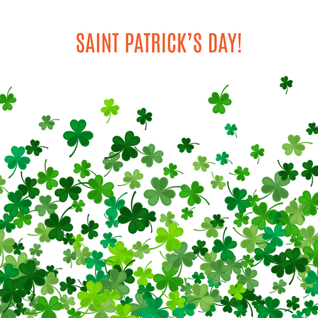 party down: St Patricks Day background. illustration for lucky spring design with shamrock. Green clover border and frame isolated on white background. Ireland symbol pattern. Irish header for web site.