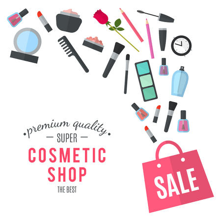 makeup artist: Make up concept flat illustration with lipstick, comb, brush, palette, perfume, nail Polish in women purse. Beauty design isolated on white background. Make-up artist objects. Cosmetic bag. Stock Photo