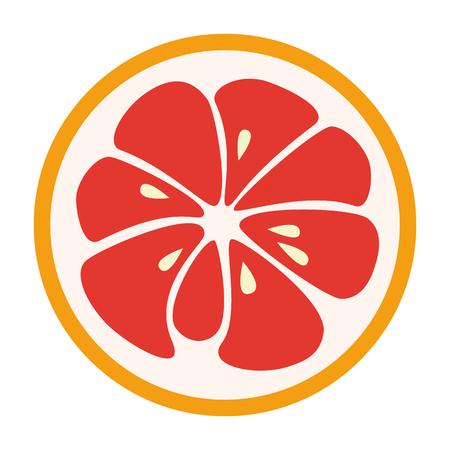 white yummy: Red grapefruit stylish icon isolated on white background. Juicy fruit logo. Logotype for citrus company. Refreshing yummy tropical summer fruit. Cocktail ingredient. design illustration Stock Photo