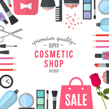 make up products: Professional quality cosmetics shop. Woman mobile online shopping. Accessories and cosmetics. Purchases in beautiful wrapped boxes. Organic cosmetics store. Natural products. Flat illustration