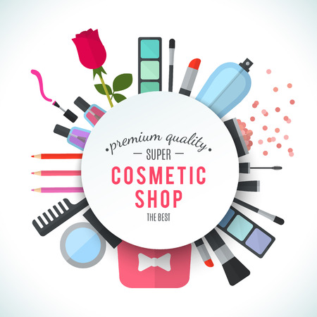 make up products: Professional quality cosmetics shop stylish logo. Accessories and cosmetics. Luxury cosmetics symbol. Organic store. Natural products. Elegant collection of treatment items. Flat illustration Stock Photo