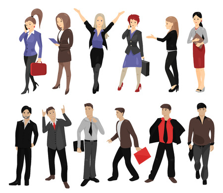 full length portrait: Set of full length portraits of business people isolated on white background. Vector illustration for smart design. Group of handsome men and cute women. Success collection. Businessman, businesswoman Illustration