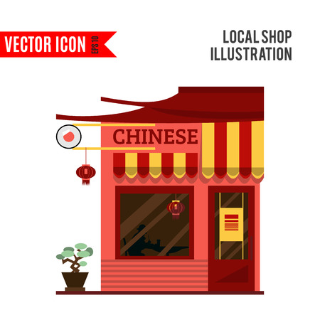 street market: Chinese detailed flat restaurant icon isolated on white background. Vector illustration for shop design. Red china cafe building. Local street market. Modern front store. Cartoon facade template