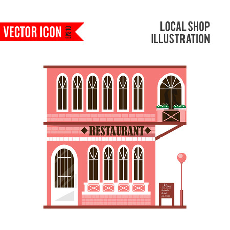 shop local: Set of flat shop building facades icons. Vector illustration local market store design. Street restaurant, retail, shoes stall, ice cream, toys game, bank, chinese, pharmacy, barber, music. App sign Illustration