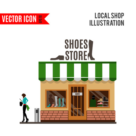 street market: Shoes detailed flat design icon isolated on white background. Vector illustration for shop. Female boutique building. Local street market. Modern front fashion style store. Cartoon footwear facade.
