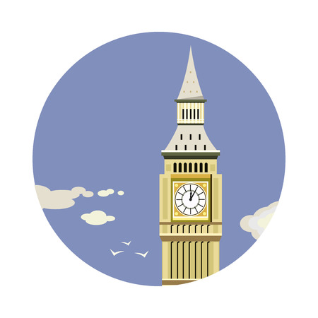 houses of parliament london: Big Ben tower closeup with clouds icon isolated on white background. Vector illustration for famous building design. Travel tour postcard. With blue sky. England landmark symbol. Touristic london sign Illustration