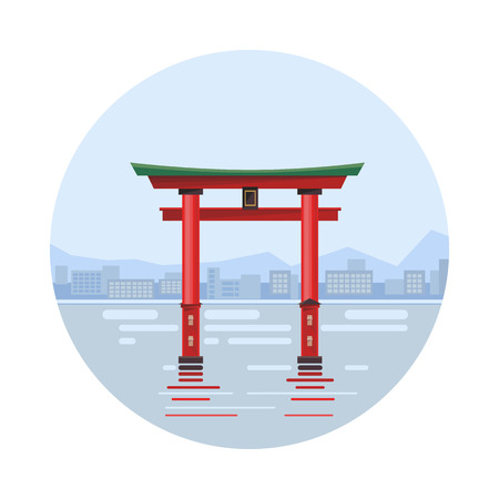miyajima: Japan at the floating gate icon isolated on white background. Vector illustration for famous building design. Travel tour postcard. With blue sky. Japanese landmark symbol Touristic asian torii temple