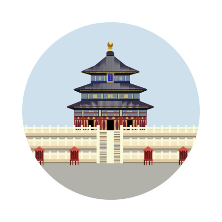 temple of heaven: Temple of Heaven icon isolated on white background. Vector illustration for famous building design. Travel tour postcard. With blue sky. China landmark symbol Touristic asian temple Illustration